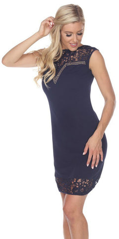 Short Charlotte Dress Navy Blue Crochet Lace Neck/Hem Cap Sleeve