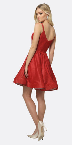 Juliet 833 Glitter Double Straps Fit Flare Short Party Dress Red Side Pockets