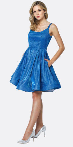 Juliet 833 Glitter Double Straps Fit Flare Short Party Dress Royal Side Pockets