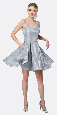 Juliet 833 Glitter Double Straps Fit Flare Short Party Dress Silver Side Pockets