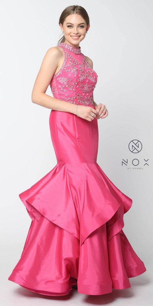 Nox Anabel 8330 Fuchsia Jeweled Bodice High-Neck Tiered Mermaid Prom Dress Long