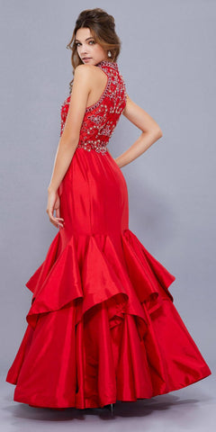Red Jeweled Bodice High-Neck Tiered Mermaid Prom Dress Long