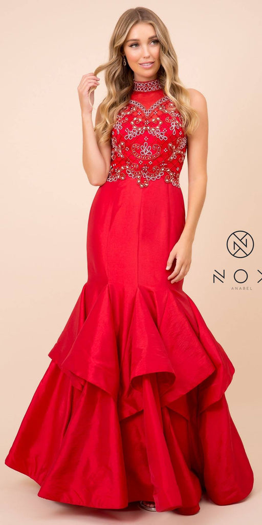 Nox Anabel 8330 Mermaid Red Dress Ruffled Jeweled Bodice High Neck
