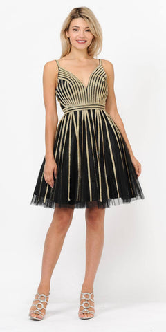 V-Neck and Back Homecoming Short Dress Black