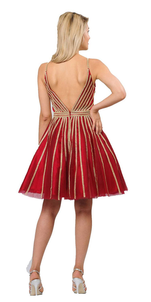 V-Neck and Back Homecoming Short Dress Burgundy