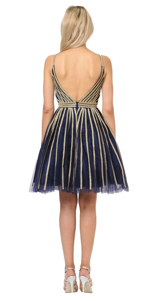 V-Neck and Back Homecoming Short Dress Navy Blue