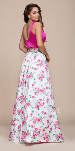 Fuchsia Satin Crop Top Long Printed Skirt Prom Dress with Pockets