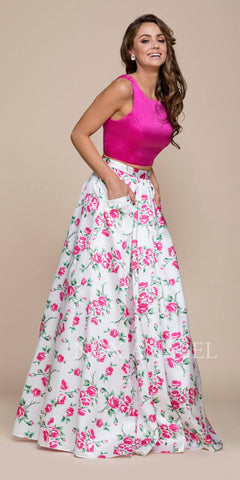 Long Strapless Metallic Fitted Gown Pink Over Skirt And Leg Slit