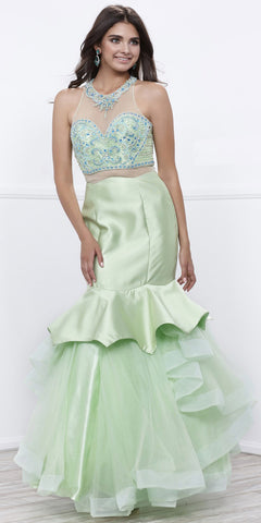 Pistachio-Green Mock Two-Piece Embellished Tiered Mermaid Prom Gown