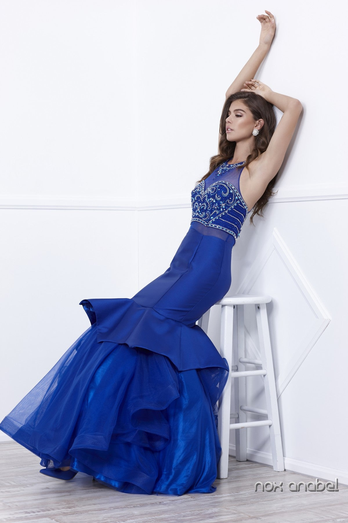 Royal Blue Mock Two-Piece Embellished Tiered Mermaid Prom Gown