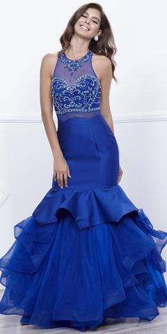 Beaded Bodice 2 Piece Mermaid Gown Royal Blue T-Back