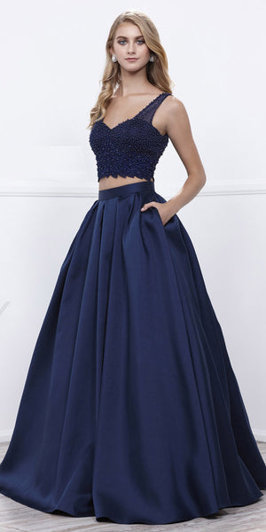 Navy Blue Beaded Crop Top V-Neck Long Pleated Skirt Two-Piece Prom Dress