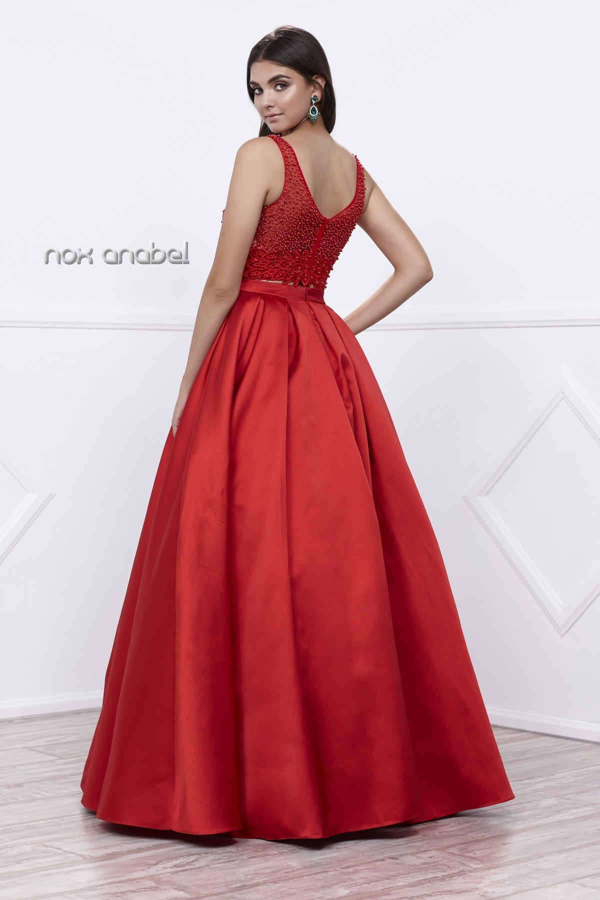 Red Beaded Crop Top V-Neck Long Pleated Skirt Two-Piece Prom Dress