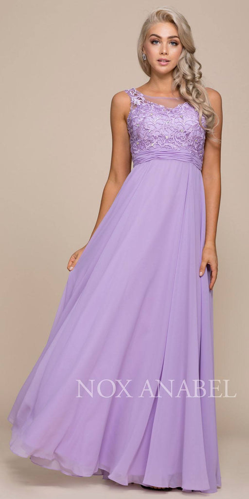 Nox Anabel 8334 Long Lilac Chiffon Dress A-Line Scoop Neck Applique Bodice