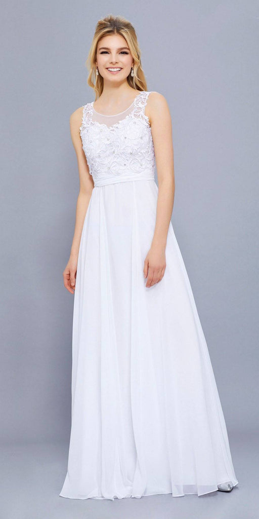 Scoop Neck Applique Bodice Ruched Waist Long Formal Dress White