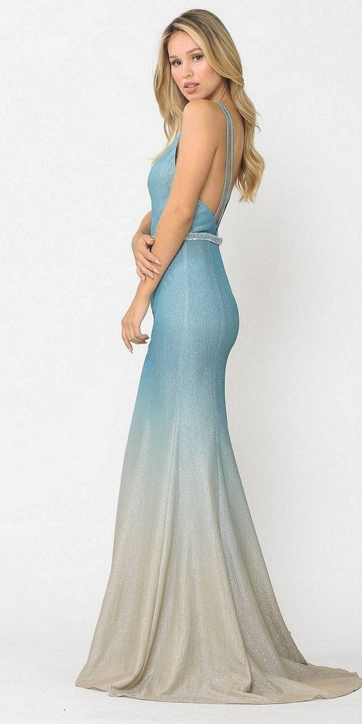 Blue Ombre Mermaid Style Long Prom Dress V-Neck