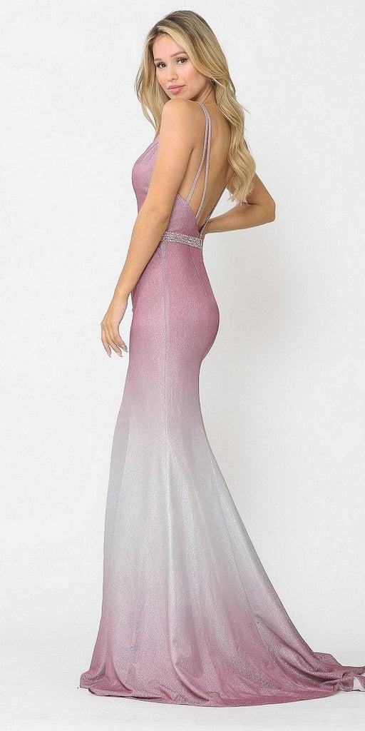Wine Ombre Mermaid Style Long Prom Dress V-Neck