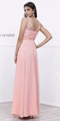 Scoop Neck Applique Bodice Ruched Waist Long Formal Dress Bashful