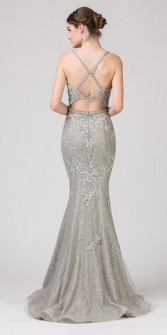 Silver Mermaid Long Prom Dress Lace with Appliques