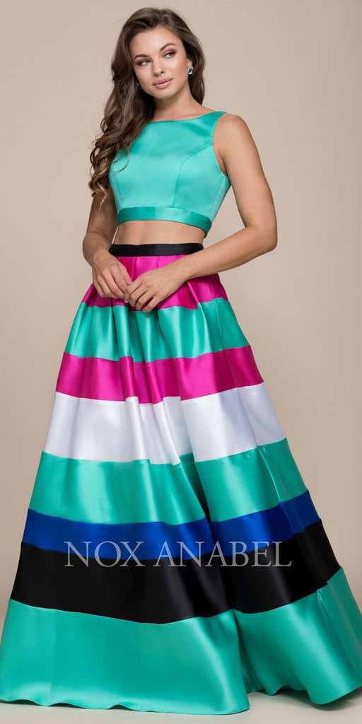 Nox Anabel 8335 Multi-Color Two-Piece A-Line Dress Sleeveless Crop Top