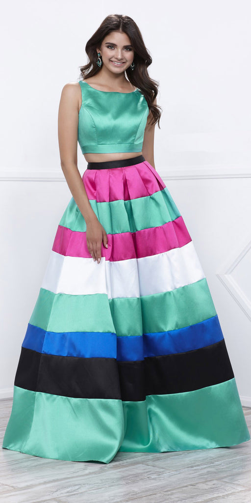 Sleeveless Crop Top Multi-Color Two-Piece Floor Length Prom Dress