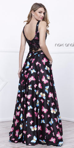 Two-Piece Lace Sleeveless Black Butterfly Print Skirt Prom Gown