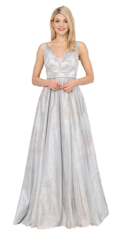 Silver A-line Long Prom Dress V-Neck and Back