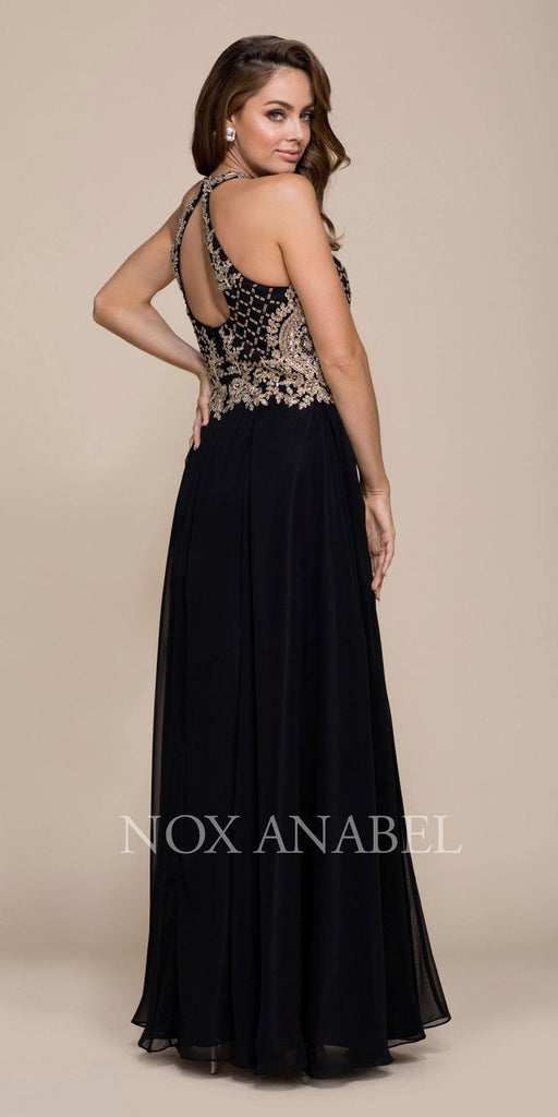 Black/Gold A-line Long Prom Dress with Sweetheart Cut-Out Neckline Back View