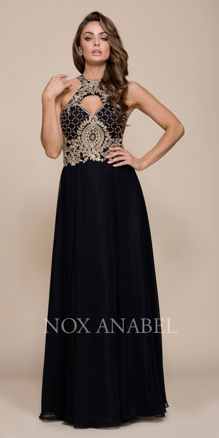 801bfa77fa49 Black/Gold A-line Long Prom Dress with Sweetheart Cut-Out Neckline ...