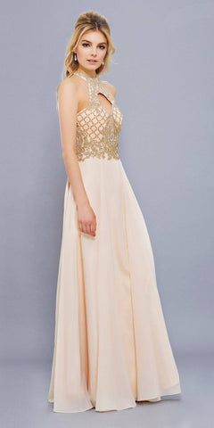 Nude/Gold A-line Long Prom Dress with Sweetheart Cut-Out Neckline