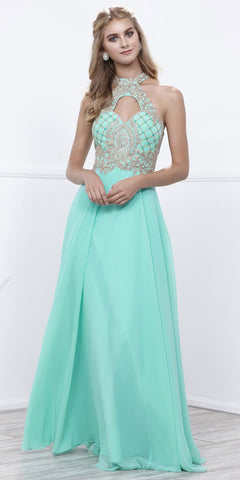 Mint-Green A-line Long Prom Dress with Sweetheart Cut-Out Neckline