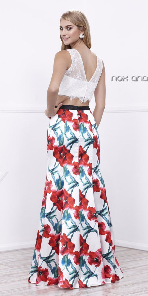 White Sleeveless Crop Top Printed Mermaid Skirt Two-Piece Prom Gown
