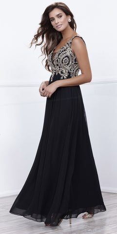 Black V-Neck Sheer Inset Appliqued Long Formal Dress Sleeveless