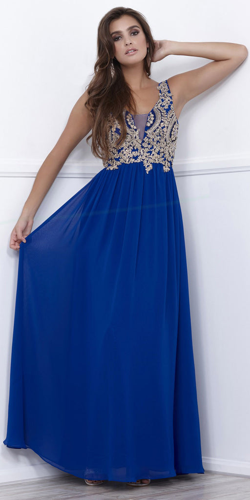 Royal Blue V-Neck Sheer Inset Appliqued Long Formal Dress Sleeveless