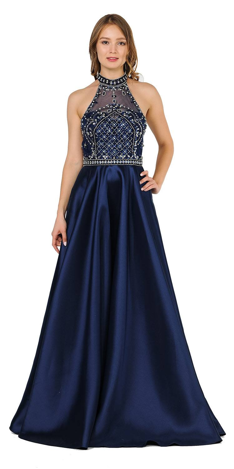 e1184f9e585 High-Neck Beaded Long Prom Dress with Pockets Navy Blue. Tap to expand