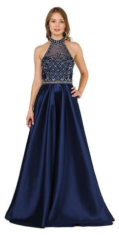 High-Neck Beaded Long Prom Dress with Pockets Navy Blue