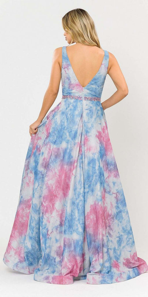Blue/Pink V-Neck and Back Long Prom Dress with Pockets