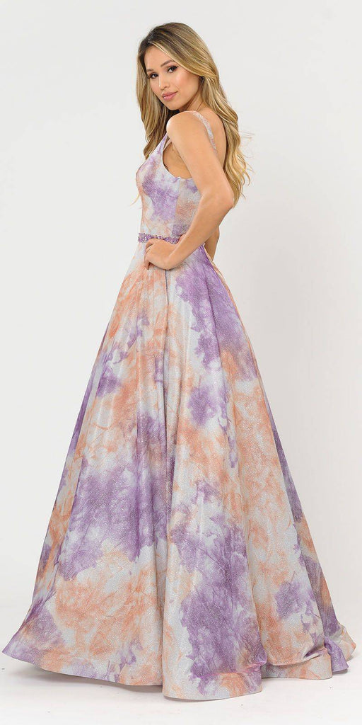 Lilac/Orange V-Neck and Back Long Prom Dress with Pockets