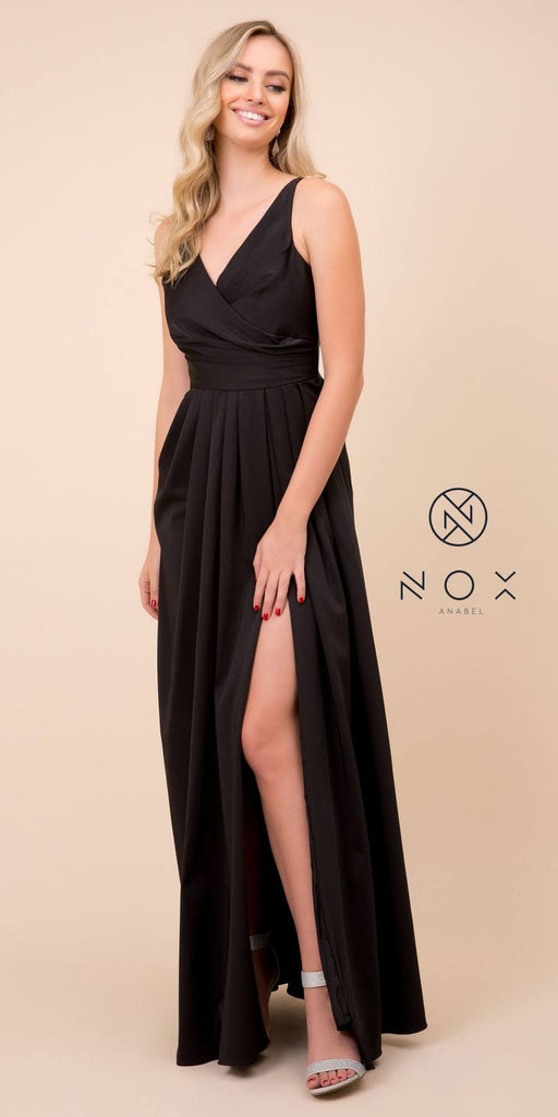 Nox Anabel 8347 Long Black Bridesmaid A-Line Satin Dress Pleated Slit