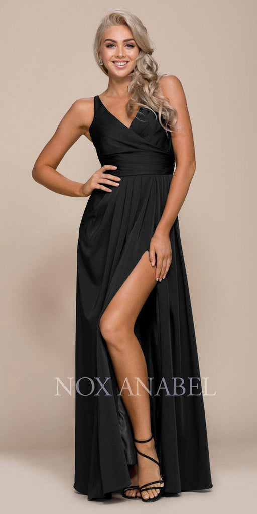 Nox Anabel 8347 Ruched Satin V-Neck Long Evening Gown Front Slit Black