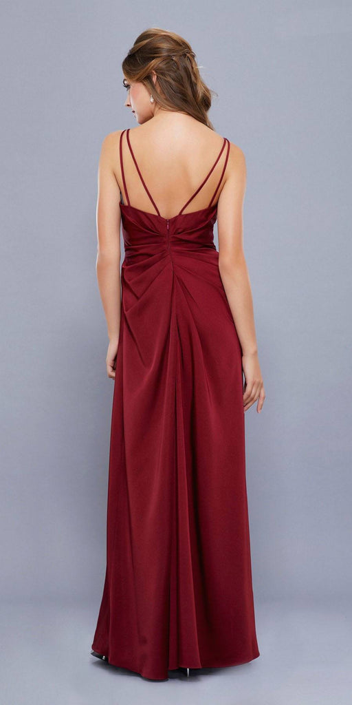 Nox Anabel 8347 Ruched Satin V-Neck Long Evening Gown Front Slit Burgundy
