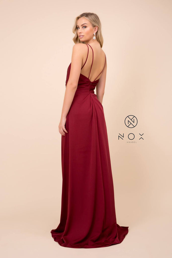 Nox Anabel 8347 Long Burgundy Bridesmaid A-Line Satin Dress Pleated Slit