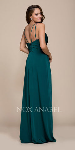 Nox Anabel 8347 Ruched Satin V-Neck Long Evening Gown Front Slit Jade