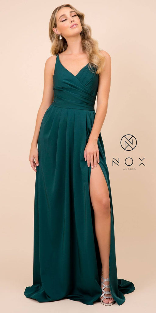 Nox Anabel 8347 Long Jade Bridesmaid A-Line Satin Dress Pleated Slit