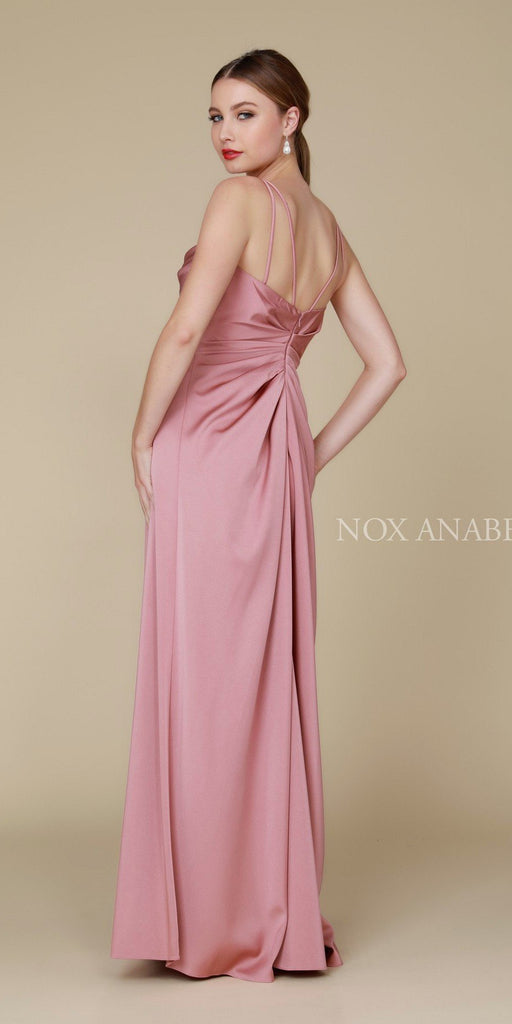 Nox Anabel 8347 Ruched Satin V-Neck Long Evening Gown Front Slit Mauve Back View