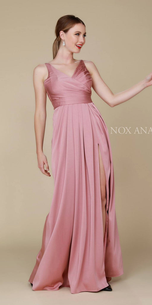Nox Anabel 8347 Ruched Satin V-Neck Long Evening Gown Front Slit Mauve