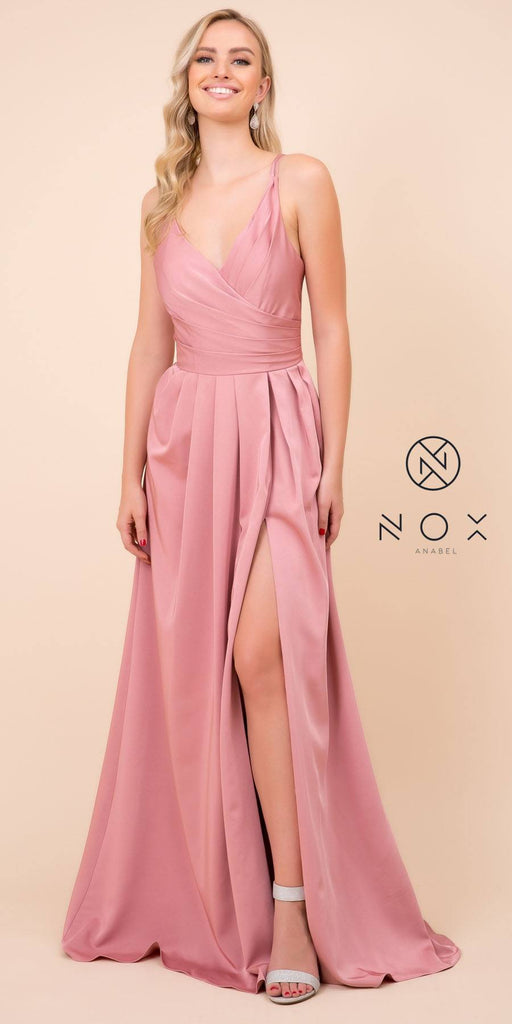 Nox Anabel 8347 Long Mauve Bridesmaid A-Line Satin Dress Pleated Slit
