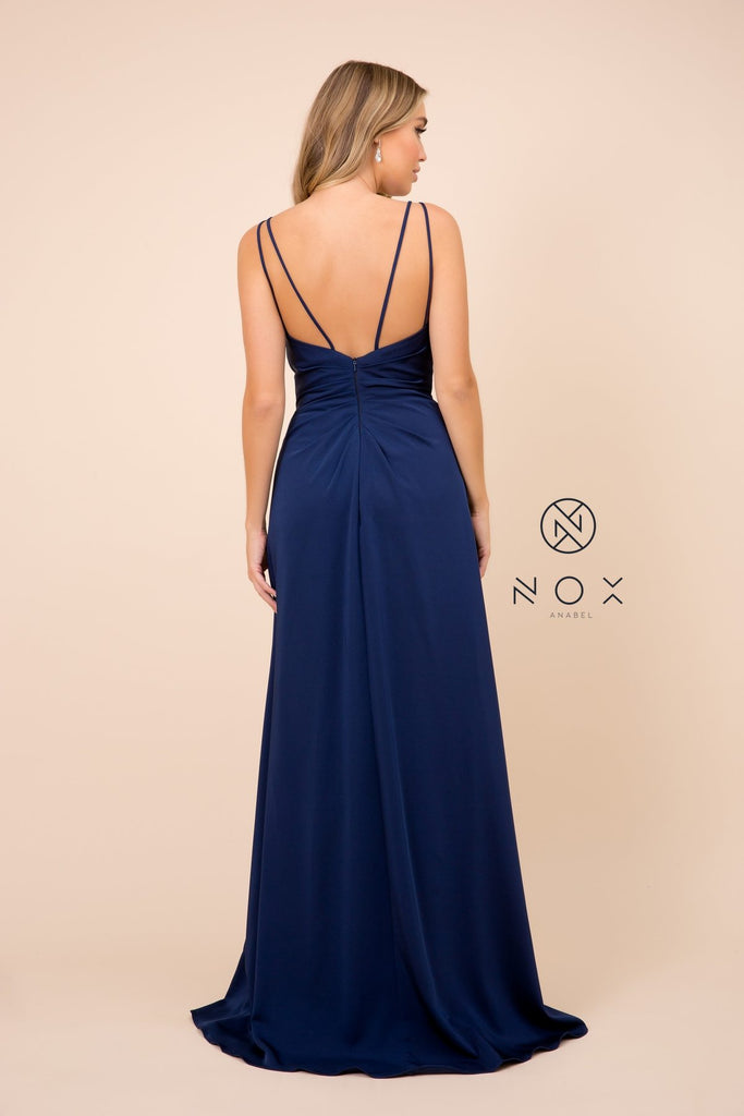 Nox Anabel 8347 Long Navy Blue Bridesmaid A-Line Satin Dress Pleated Slit