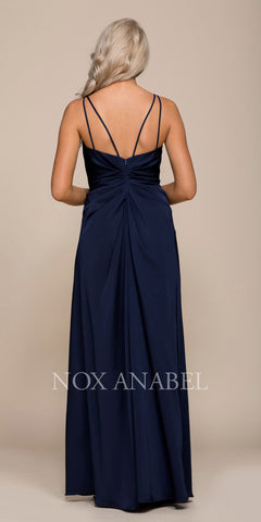 Nox Anabel 8347 Ruched Satin V-Neck Long Evening Gown Front Slit Navy Blue