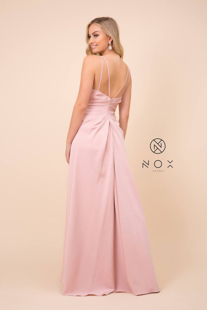 Nox Anabel 8347 Long Rose Bridesmaid A-Line Satin Dress Pleated Slit